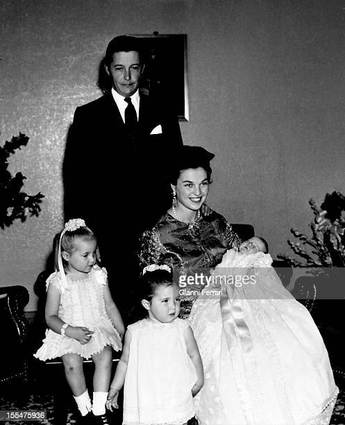 Prince Carlos of Borbon Dos Sicilias and his wife Princess Anne of Orleans in the birth of their third child Pedro along with their two previous...