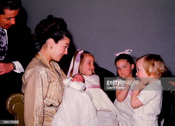 Prince Carlos of Borbon Dos Sicilias his wife Princess Anne of Orleans and their children Ines Cristina Maria and Pedro Madrid Castilla La Mancha...