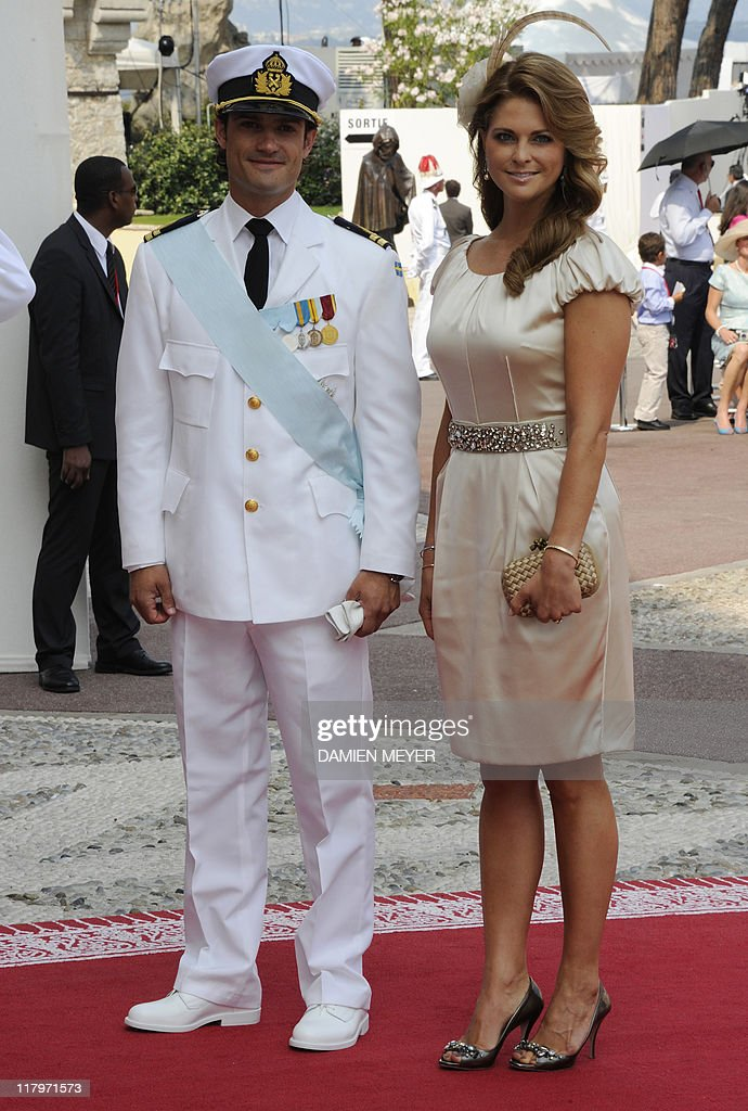 Prince Carl-Philip of Sweden and Princess Madeleine of Sweden arrive for the religious wedding of Prince Albert II of Monaco and Princess Charlene of Monaco at the Prince's Palace on July 2, 2011 in Monaco.