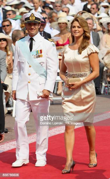 Prince CarlPhilip of Sweden and Princess Madeleine of Sweden arrive at the Place du Palais Monte Carlo for the religious ceremony of the wedding of...
