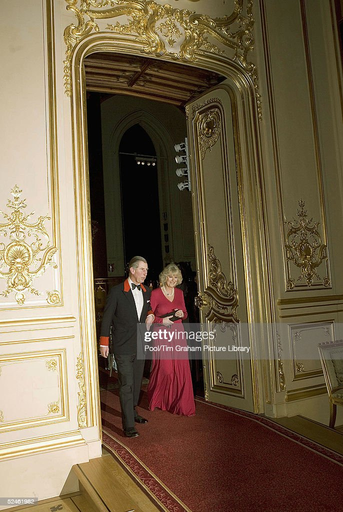HRH Prince Charles and Camilla Parker-Bowles attend an official dinner engagement, following the announcement that they will marry, February 10, 2005, Windsor, England .