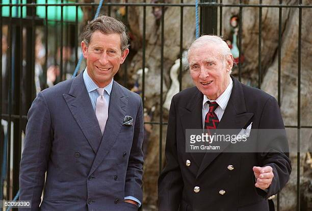 Prince Charles And Comedian Spike Milligan Unveil The Restored Elfin Oak In Kensington Gardens London