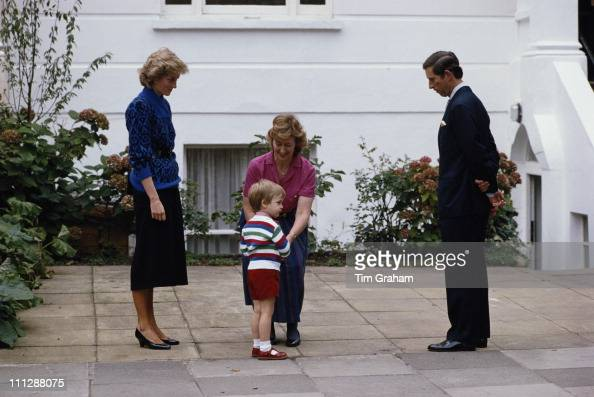 Prince Charles and Diana Princess of Wales drop off their son Prince William on his first day at nursery school 24th September 1985 He is attending...