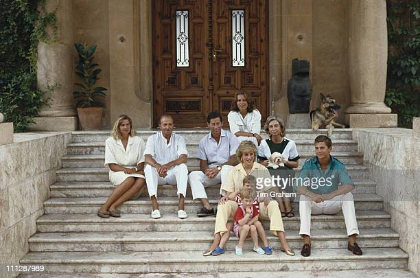 Prince Charles and Diana Princess of Wales with their sons Prince William and Prince Harry whilst holidaying in Majorca with the Spanish royal family...
