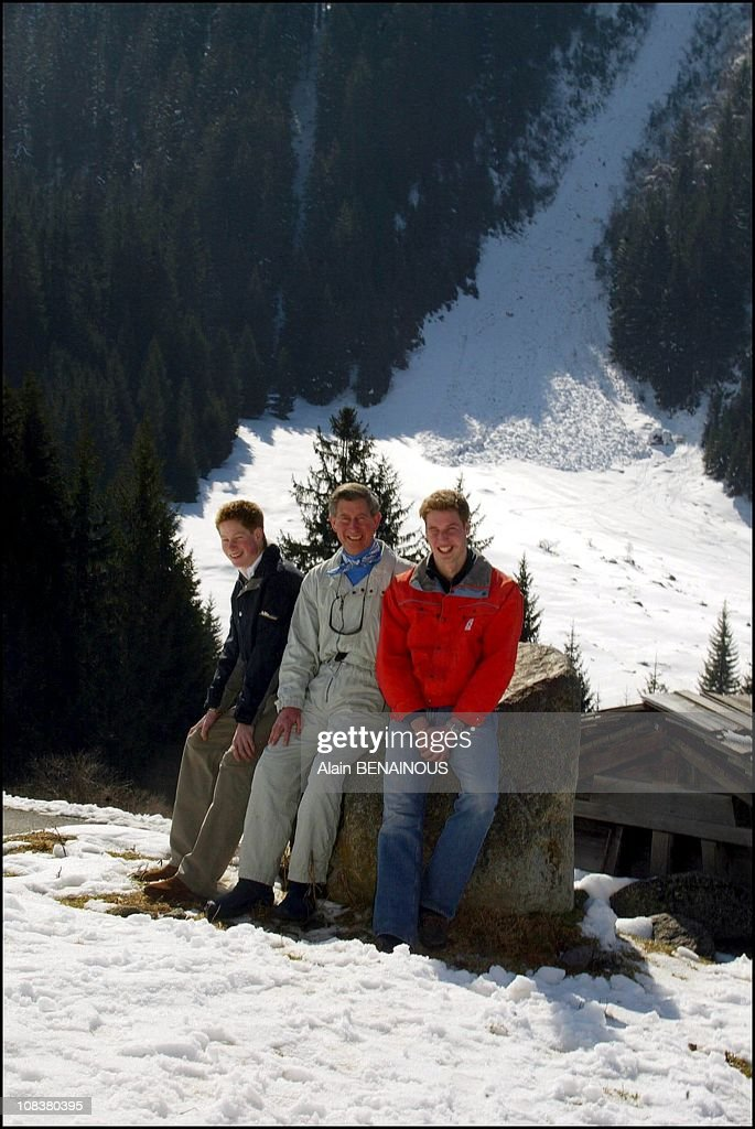 Prince Charles and his sons Prince Henry and Prince William in Klosters in Klosters Suisse on March 28 2002