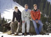Prince Charles and his sons William and Harry appear at a photocall March 29 2002 in the Swiss village of Klosters at the start of his annual sking...