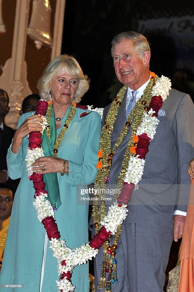 Prince Charles and his wife Camilla Parker Bowles taking part in Ganga Arti ceremony held at Parmartha Niketan Ashram on the bank of Ganga for the peace of those who died in the heavy rains and flashfloods in June on November 6, 2013 in Rishikesh, India. The royal couple begin their extensive nine-day tour of India from Uttarakhand which was hit by a natural calamity in mid-June.