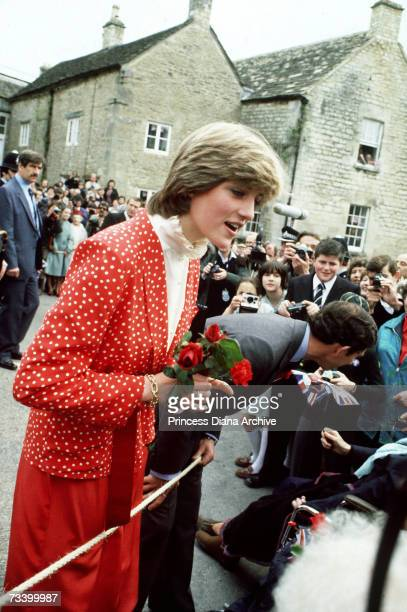Prince Charles and Lady Diana Spencer visit the town of Tetbury shortly after their engagement 22nd May 1981 She is wearing a Jasper Conran suit