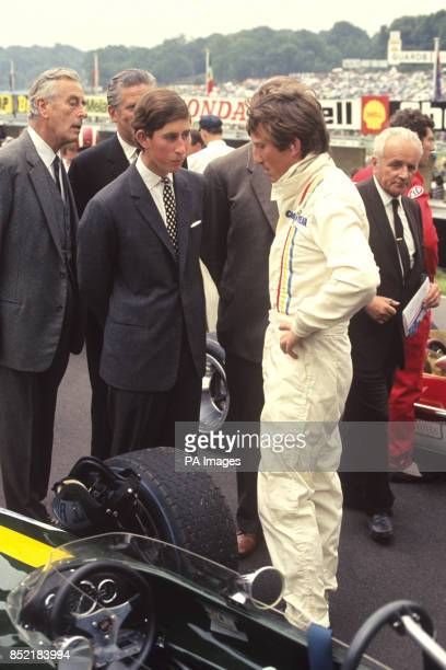 Prince Charles and Lord Mountbatten meet driver Jochen Rindt before the start of the British Grand Prix at Brands Hatch Kent