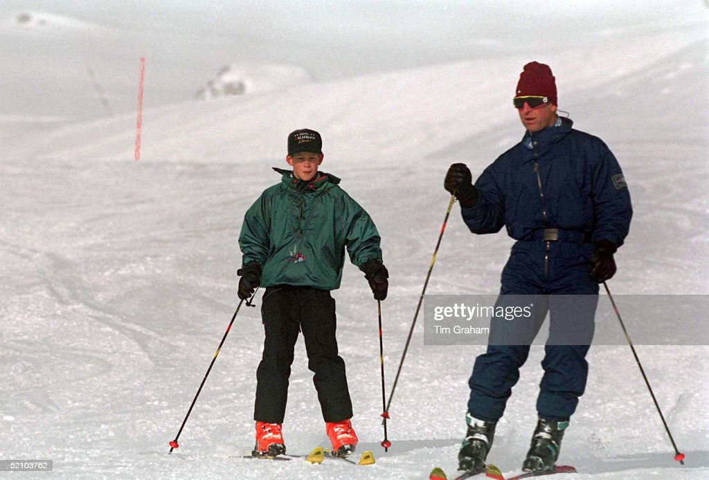 Prince Charles And Prince Harry Skiing In Klosters Switzerland On New Years Day 1st January