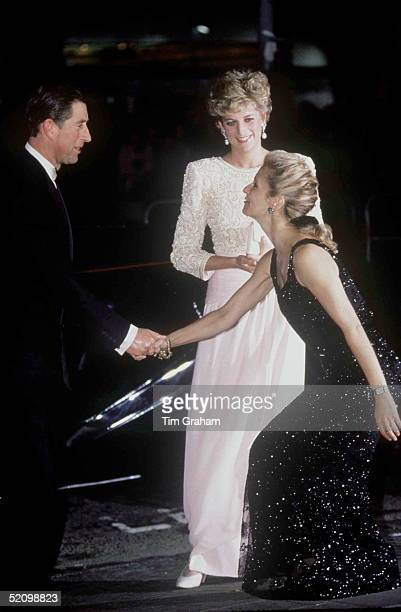 Prince Charles And Princess Diana Arriving At The Royal Variety Performance Dominion Theatre London Princess Diana Is Wearing A Dress By Fashion...