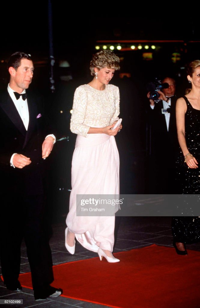 Prince Charles And Princess Diana Arriving At The Royal Variety Performance, Dominion Theatre, London. Diana's Dress Is By Fashion Designer Catherine Walker.