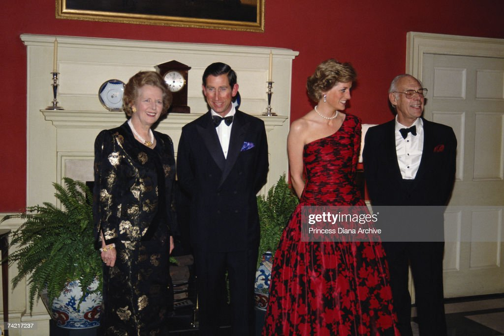 <a gi-track='captionPersonalityLinkClicked' href=/galleries/search?phrase=Prince+Charles+-+Prince+of+Wales&family=editorial&specificpeople=160180 ng-click='$event.stopPropagation()'>Prince Charles</a> and Princess Diana attending a dinner at 10 Downing Street with Prime Minister Margaret Thatcher and her husband Denis, November 1989. Princess Diana is wearing a Catherine Walker evening gown.