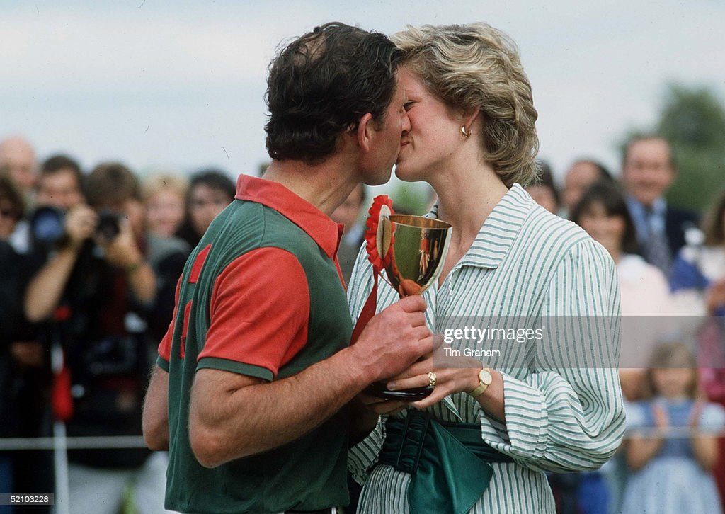 Prince Charles And Princess Diana Kissing At Polo At Windsor In A Charity Match Raising Funds For Birthright