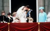 Prince Charles And Princess Diana Kissing On The Balcony Of Buckingham Palace On Their Wedding Day Lord Nicholas Windsor Edward Van Cutsem Sarah Jane...