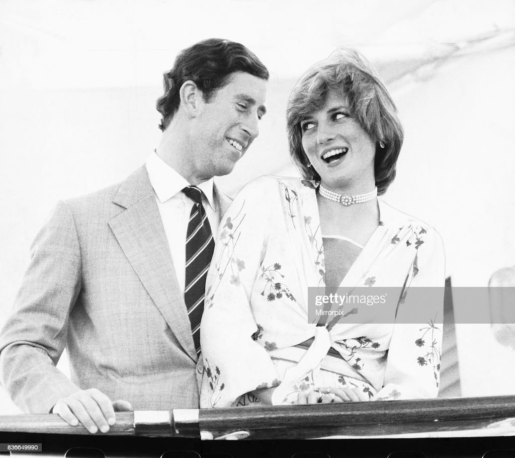 Prince Charles and Princess Diana on board the Royal yacht Britannia as they prepare to depart from Gibraltar on their honeymoon cruise. The Princess is wearing a Donald Campbell dress. 1st August 1981.