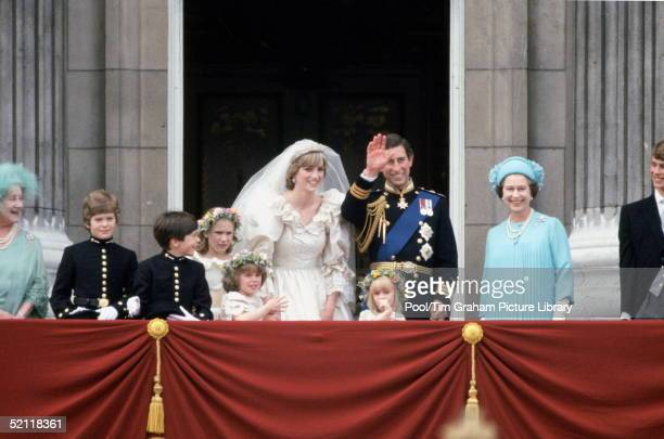 Prince Charles And Princess Diana On Their Wedding Day On The Balcony Of Buckingham Palace L To R Queen Mother Pageboys Lord Nicholas Windsor And...