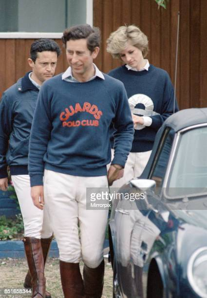 Prince Charles and Princess Diana the Prince and Princess of Wales at Smith's Lawn Windsor accompanied by Charles 'Les Diables Bleus' teammate Guy...