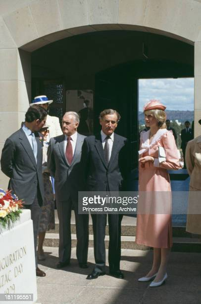 Prince Charles and Princess Diana visit the War Memorial in Canberra during their tour of Australia 25th March 1983
