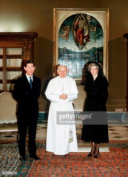 Prince Charles And Princess Diana Visiting Pope Johnpaul II At The Vatican During Their Tour Of Italy