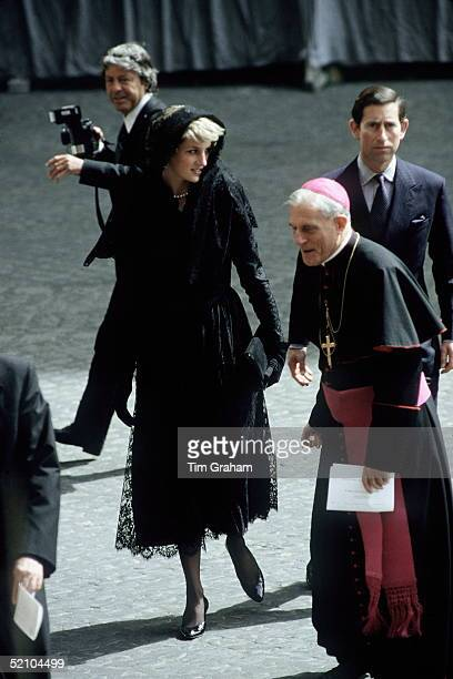 Prince Charles And Princess Diana Visiting Pope Johnpaul II At The Vatican During Their Tour Of Italy The Princess Is Wearing A Calflength Black Lace...