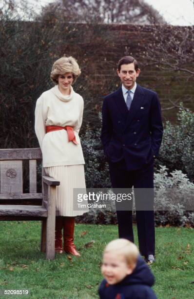 Prince Charles And Princess Diana Watching Their Son Prince William During A Photocall In The Gardens Of Their Home At Kensington Palace The Wooden...