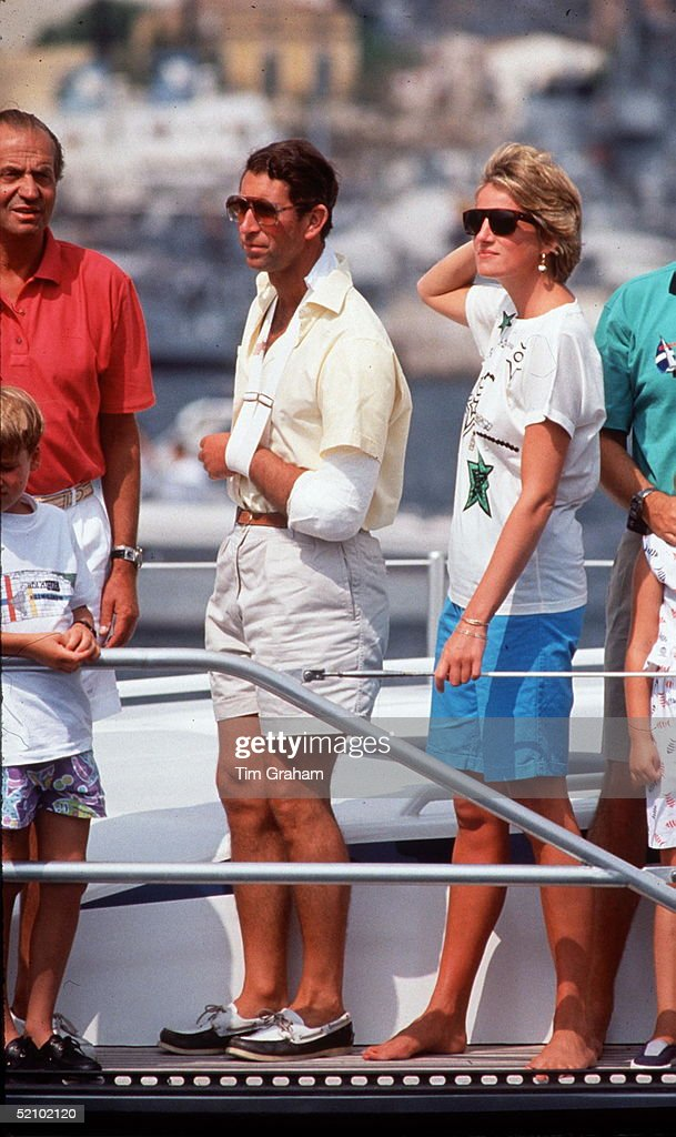 Prince Charles And Princess Diana With King Juan Carlos Of Spain On Board The Yacht Fortuna On Summer Holiday In Majorca