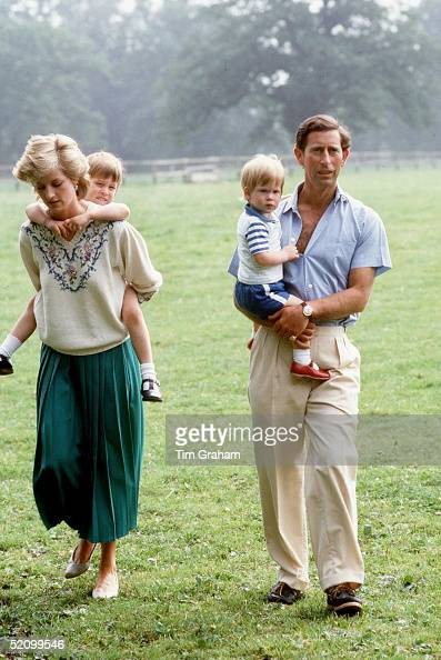 Prince Charles And Princess Diana With Prince William And Prince Harry At Home In The Gardens Of Highgrove House