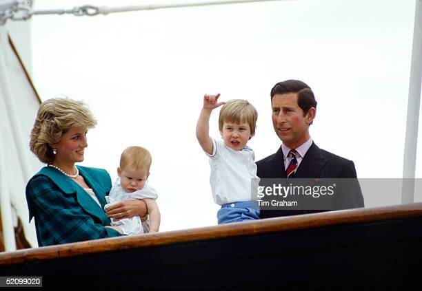Prince Charles And Princess Diana With Prince William And Prince Harry On Board The Royal Yacht Britannia In Venice