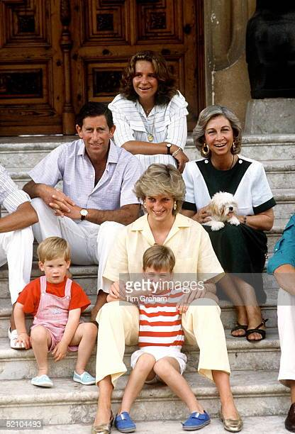 Prince Charles And Princess Diana With Prince William And Prince Harry On Holiday In Majorca Also Present Are Queen Sofia Of Spain And Infanta Elena