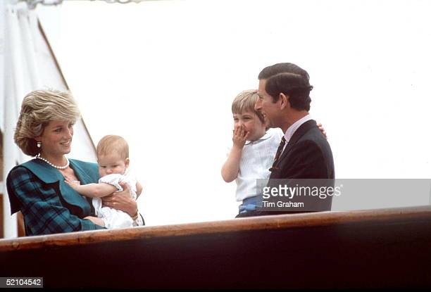Prince Charles And Princess Diana With Prince William And Prince Harry On The Royal Yacht Britannia In Italy