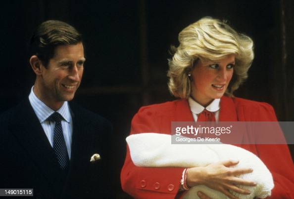 Prince Charles and Princess Diana With the newly born Prince Harry outside the Lindo Wing