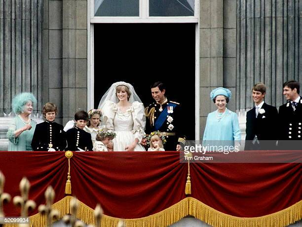 Prince Charles And Princess Diana With Their Bridesmaids And Pageboys The Queen Mother The Queen Prince Edward And Prince Andrew On The Balcony Of...