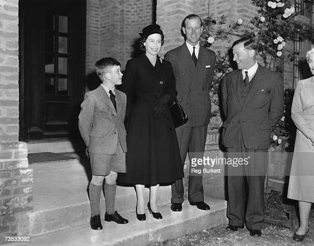 Prince Charles arrives at Cheam School in Berkshire to start his first term and is introduced to the headmaster Peter Beck 23rd September 1957 The...