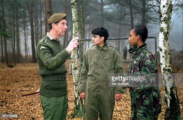 Prince Charles As Colonel Of The Welsh Guards Visits Potential Army Recruits From The Ethnic Minorities At The Army Training Regiment Pirnright Surrey