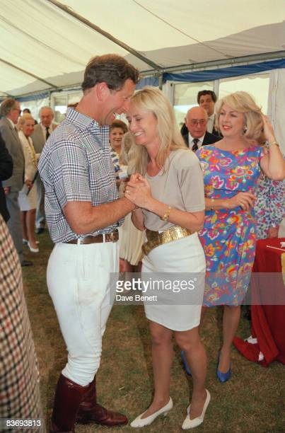 Prince Charles at a polo match in Windsor with actress Susan George and Lady 'Kanga' Tryon 10th July 1991