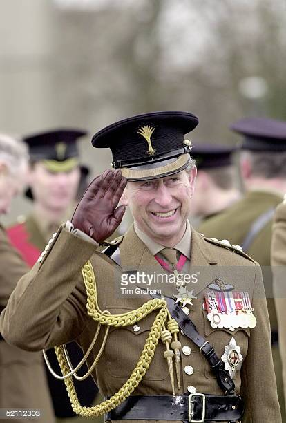 Prince Charles Colonel Of The Welsh Guards Taking The Salute As The Battalion March Past During His St David's Day Visit To Aldershot Hampshire