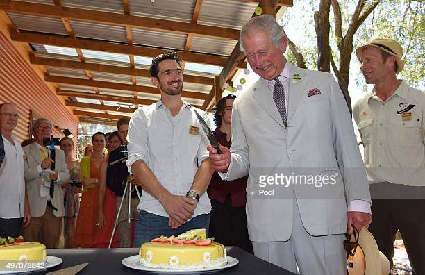 Prince Charles cuts a birthday cake during a visit to Oranje Tractor Wines on November 14 2015 in Albany Australia The Royal couple are on a 12day...