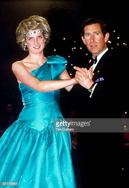 Prince Charles Dancing With His Wife Princess Diana In Melbourne During Their Official Tour Of Australia The Princess Is Wearing A Diamond And...