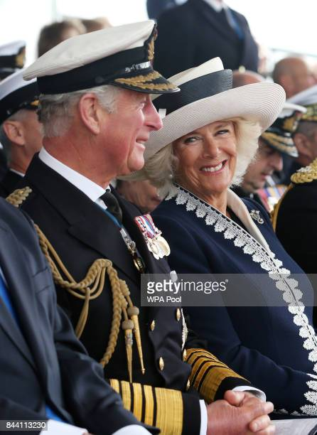 Prince Charles Duke of Rothesay and Camilla Duchess of Rothesay during a naming ceremony of aircraft carrier HMS Prince of Wales at the Royal...