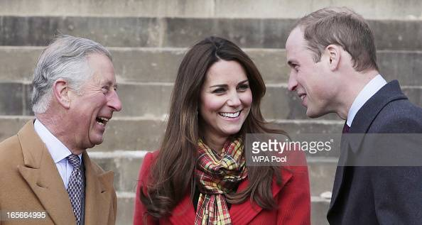 Prince Charles Duke of Rothesay Catherine Countess of Strathearn and Prince William Earl of Strathearn share a joke during a visit to Dumfries House...
