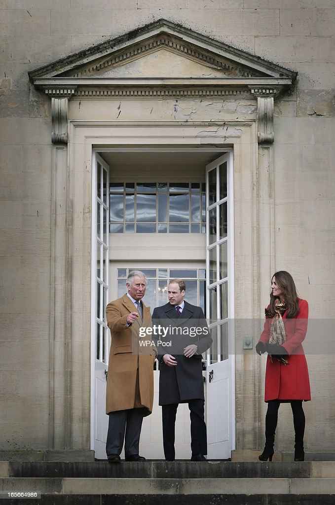 Prince Charles, Duke of Rothesay, Prince William, Earl of Strathearn and Catherine, Countess of Strathearn during a visit to Dumfries House on March 05, 2013 in Ayrshire, Scotland. The Duke and Duchess of Cambridge braved the bitter cold to attend the opening of an outdoor centre in Scotland today. The couple joined the Prince of Wales at Dumfries House in Ayrshire where Charles has led a regeneration project since 2007. Hundreds of locals and 600 members of youth groups including the Girl Guides and Scouts turned out for the official opening of the Tamar Manoukin Outdoor Centre.