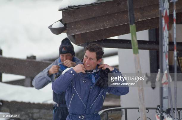 Prince Charles during a skiing holiday in Klosters Switzerland 18th February 1987