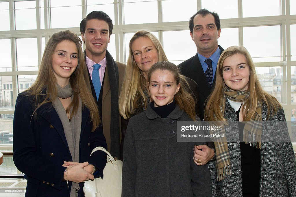 Prince Charles Emmanuel de Bourbon Parme (R) and family pose before the Don Quichotte Ballet Hosted By 'Reve d'Enfants' Association and AROP at Opera Bastille on December 9, 2012 in Paris, France.