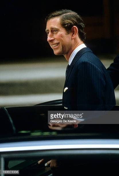 Prince Charles getting out of a car circa 1988