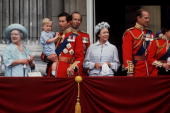 Prince Charles Holding Prince William On The Balcony Of Buckingham Palace At Trooping The Colour