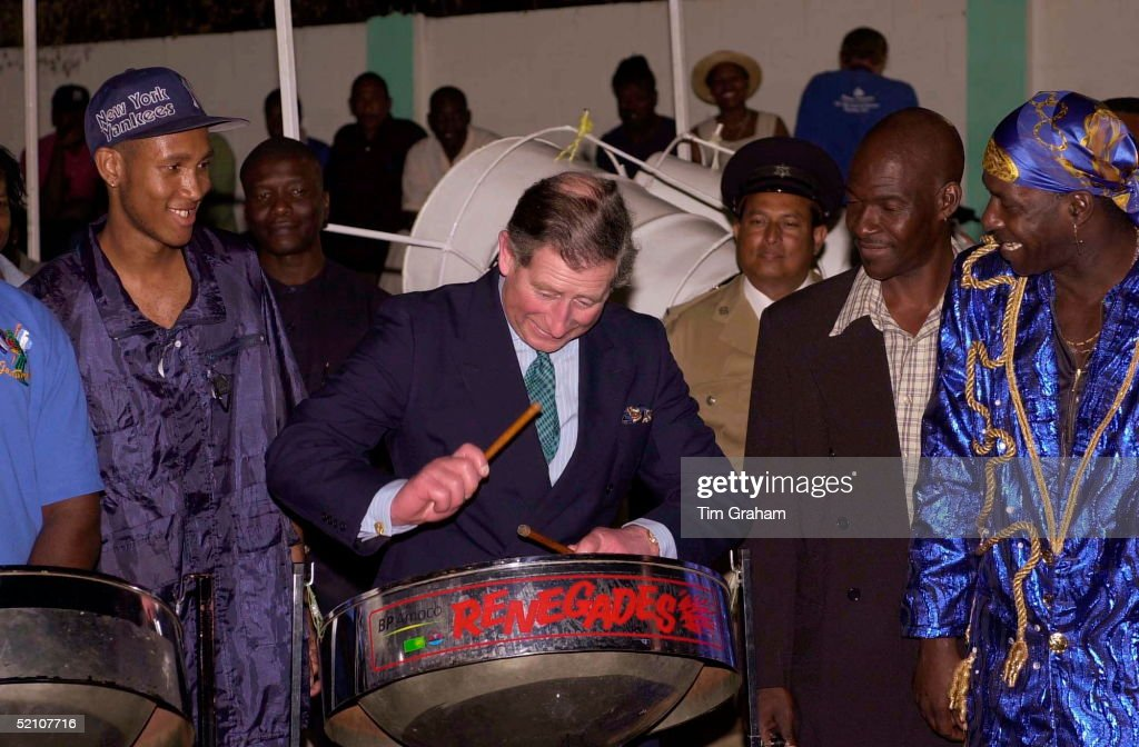<a gi-track='captionPersonalityLinkClicked' href=/galleries/search?phrase=Prince+Charles&family=editorial&specificpeople=160180 ng-click='$event.stopPropagation()'>Prince Charles</a> In Port Of Spain, Trinidad Playing One Of The Steel Drums Used In A Steel Band Concert At The Bp Amoco Pan Yard To Greet His Arrival.