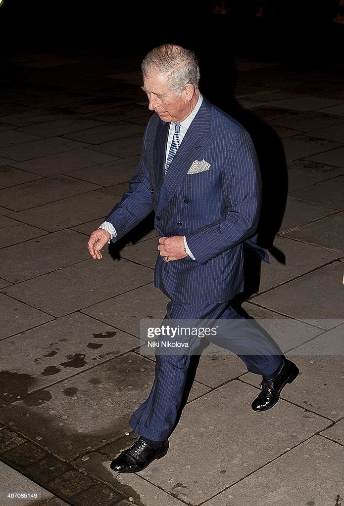 Prince Charles is seen arriving at the V&A Museum, Knightsbridge on February 5, 2014 in London, England.