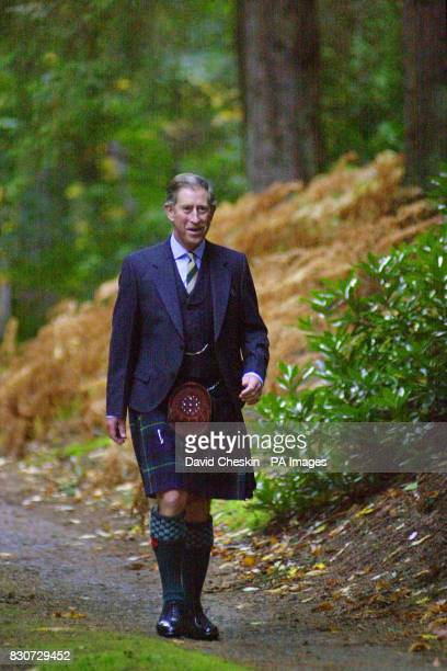 Prince Charles known as the Duke of Rothesay north of the border arrives to start The Royal Guard charity run from Birkhall Ballater Aberdeenshire...