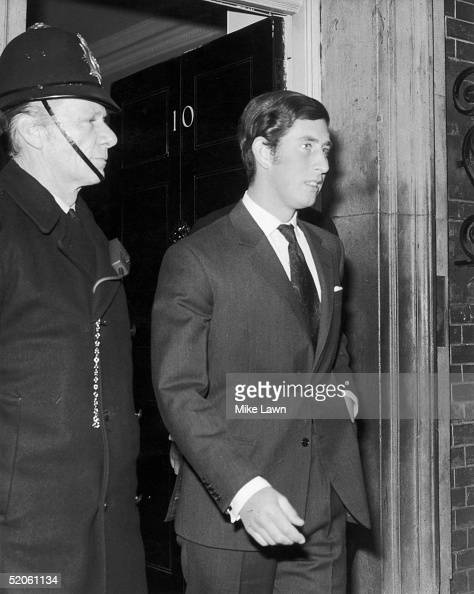 Prince Charles leaves 10 Downing Street after lunching with British prime minister Edward Heath 3rd March 1971 The prince is leaning about the...